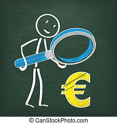 Blackboard Stickman Loupe Euro