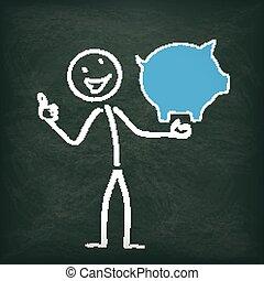 Blackboard Stickman Piggy Bank Ok