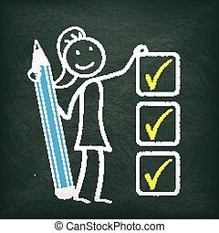 Blackboard Stickwoman Checklist