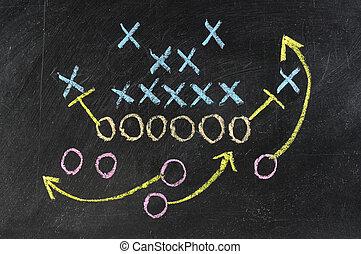 blackboard., strategia, kreda, gra, pociągnięty, biały