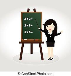 Blackboard - Teacher standing next to blackboard during a...