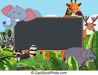 Blackboard template design with many wild animals in the field