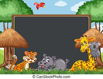 Blackboard template design with wild animals in the