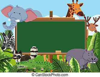 Blackboard template design with wild animals in the park