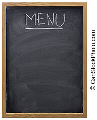 blank blackboard in wood frame with white chalk smudges used a restaurant menu