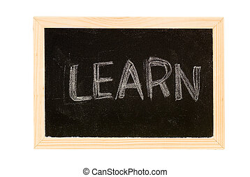 "Learn - Blackboard was writing white a word of ""Learn\""."