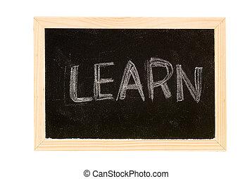 "Learn - Blackboard was writing white a word of \""Learn\""."