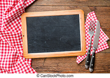 Blackboard with a red checkered tablecloth