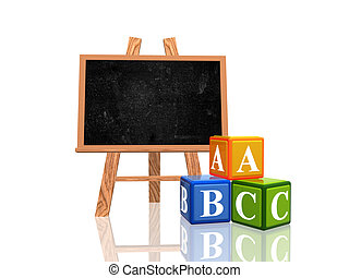 blackboard with abc cubes - 3d wooden blackboard with cubes ...