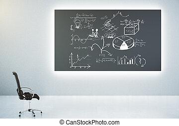 Blackboard with business scheme concept