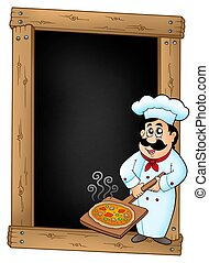 Blackboard with chef and pizza plate - color illustration.