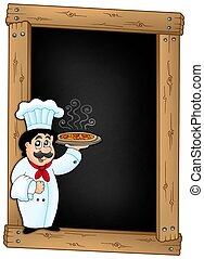 Blackboard with chef holding pizza