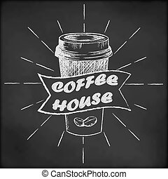 Blackboard with coffee cup sketch