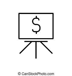 Blackboard with dollar icon