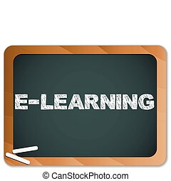 Blackboard with E-learning Message written with Chalk -...