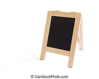 Blackboard with easel stand or sidewalk signboard isolated on white background