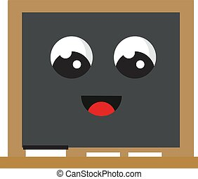 Blackboard with eyes, illustration, vector on white background.