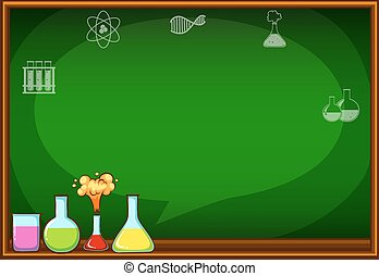 Blackboard with flasks and chemical
