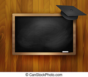 Blackboard with  graduation cap. Vector.