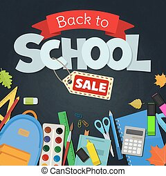 Blackboard with greeting, First day of school, Back to school sale. Vector