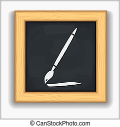 Blackboard with icon of a brush