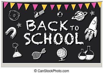 Blackboard with many school icons