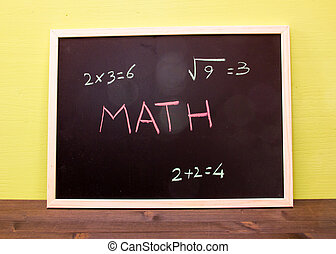 Blackboard with math lesson on green wall