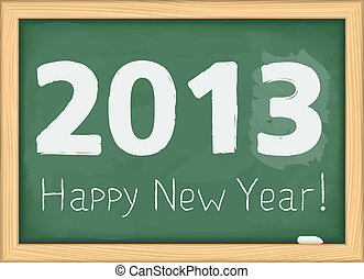 Blackboard with number of new year 2013