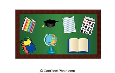 Blackboard with objects for education