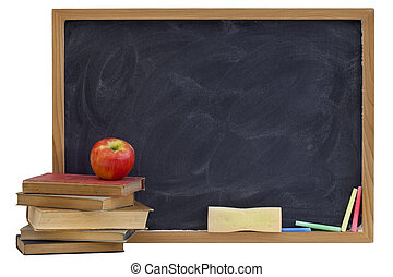 blackboard with old textbooks and apple - education concept...