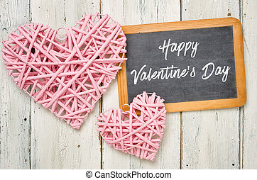 Blackboard with pink hearts - Happy Valentines Day