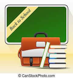 Blackboard with school bag and books