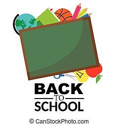 blackboard with school objects