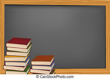 Blackboard with school supplies.