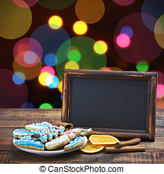 blackboard with space for text on a blue background Christmas