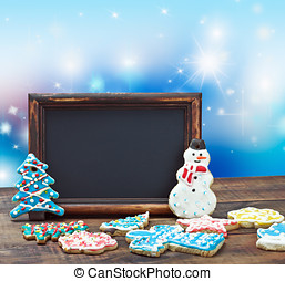 blackboard with space for text on background Christmas
