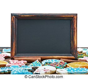 blackboard with space for text on the background of Christmas gingerbread