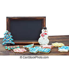 blackboard with space for text on the background of a Christmas background