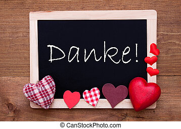 Blackboard With Textile Hearts, Text Danke Means Thank You