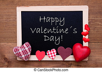 Blackboard With Textile Hearts, Text Happy Valentines Day