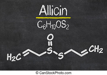 Blackboard with the chemical formula of Allicin