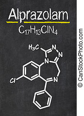 Blackboard with the chemical formula of Alprazolam
