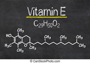 Blackboard with the chemical formula of Vitamin E