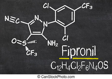 Blackboard with the chemical formula of Fipronil