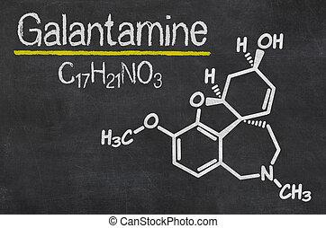 Blackboard with the chemical formula of Galantamine