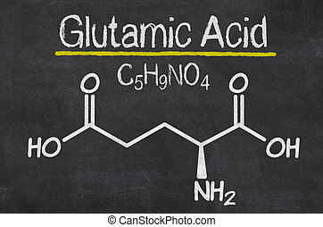 Blackboard with the chemical formula of Glutamic acid