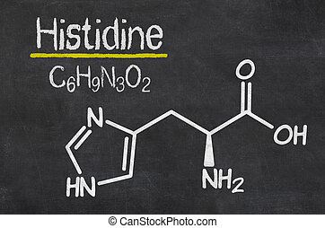 Blackboard with the chemical formula of Histidine