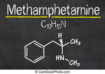 Blackboard with the chemical formula of Methamphetamine