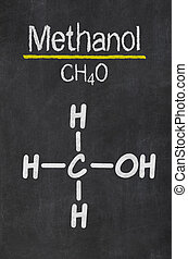 Blackboard with the chemical formula of  Methanol