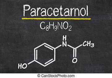 Blackboard with the chemical formula of Paracetamol